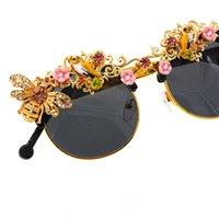 Солнцезащитные очки Handmade Роскошный Барочный Горный Хрусталь Цветочный Пчела для Женщин Бренд Женские Солнцезащитные Очки Oculos Crystal Eyeewear Party