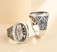 Cluster ringar 12 * 19mm 925 Sterling Silver Män Semi Mount Bases Blanks Base Blank Pad Vintage Wedding Ring Inställning Ställ DIY A5344