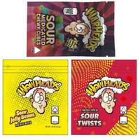 Wholesale municules de merde Sacs 500mg Twistes Sourtes Jelly Beans Cubes Chewy Cubes Edibles Sac d'emballage 3 Types Candy Soulier à odeur Résuénal de fermeture à glissière de fermeture à glissière