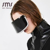 Mode diamant surdimensionné Miroir Lunettes de soleil Femmes Hommes 2021 Grand luxe Cadre Masque strass Protection des yeux Noir Lunettes UV400 BDJG