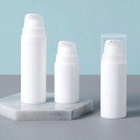 5 ml / 10ml / 15ml de plástico blanco de botellas vacías de bomba sin aire al por mayor de la botella de loción de presión de vacío envase cosmético