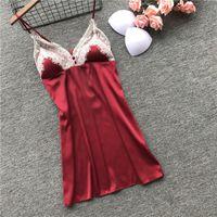 22020 новые дам сексуальные весной и летом ремни сорочки с груди площадки льда шелковых кружев тонких пижамами