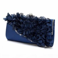 Lady Hot Moda Satin Clutch Partido Evening Flower Bag Purse casamento da corrente tiracolo cores: Rosa
