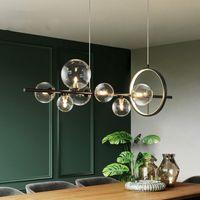 Nordic Lamp Art Strip Pendant Lights Modern Parlor Living room Glass Bulb LOFT luminaire suspension hanglamp lustre pendente