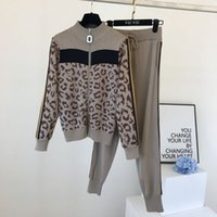 2020 Autumn Winter Women Two Piece Sweat Set Zipper Leopard ...