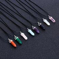 Esagonale colonna quarzo collane turchesi in pelle catena rosa cristallo pendente collana per le donne di pietra Girocollo Collana Naturale
