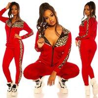 여성 운동복 디자이너 레오파드 패치 워크 긴 소매 스웨터 지퍼 자켓 코트 바지 레깅스 색상 일치 캐주얼 스포츠 세트 E82604
