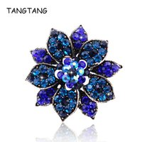 Pinches, Broches Vintage Royal Deep Blue Crystal Flower et Pins Bijoux Bijoux De Charme Strass Strass Glamour Accessoires Awesome Vapel 2021