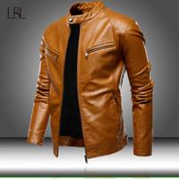 Hommes Automne Motorcycle causales manteau de veste en cuir pour hommes Outfit Mode Biker Zipper PU cuir Vestes homme mince collier Pardessus CX200826
