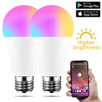 IOS / Android için Kablosuz Bluetooth 4.0 Akıllı Ampul ev Aydınlatma lambası 10W E27 B22 Sihirli RGB + W LED Değişim Renk Ampul Dim