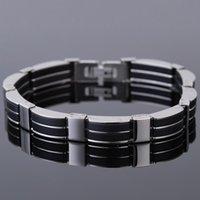 Pulseira de silicone preta Masculino inoxidável Man pulseira de aço Bangle barato Homens Jóias Acessórios Amizade Mão cinto ajustável
