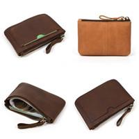 Couro genuíno retro Carteira Bolsa Couro Oblong Moda Coin Bolsas Cartões Dinheiro Mini Organizador Storage Bags Hot 19lf C2