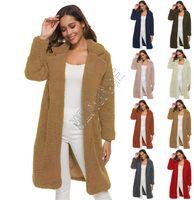 Femmes Sherpa Fleece Automne Hiver revers du manteau chaud Manteaux longs Pardessus Outwear solide en peluche cocon boutique veste oversize manteau 2020 D82607