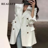 Женские костюмы Blazers Realeft 2021 осень осенью зима элегантный твердый пиджак двубортный с длинным рукавом формальный офисный пиджак ванна