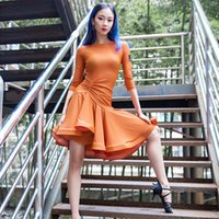 مرحلة ارتداء 2021 الرقص اللاتينية اللباس المرأة طويلة الأكمام تانغو رومبا قاعة الأزياء الحديثة الصلصا تشا تنورة