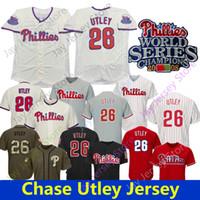 Chase Utley Jersey Philadelphia 2008 Champions Patch Home Way Cool Base Vermelho Bordado Button Down Pinstripe