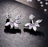 Lekani caliente de la venta 925 Flor de plata de ley pendientes tallados cristal Mujer desde simple temperamento salvaje antialérgica