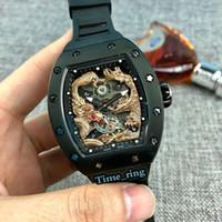 La mejor edición RM57-01 3D Dragon y Phoenix Totem Dial Black Steel Case Japón Miyota Movimiento automático Mens Reloj de goma Relojes deportivos