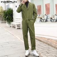 Erkek Pantolon Moda Erkekler Kargo Tulum Streetwear Katı Renk Düğmesi Uzun Kollu 2021 Tulum Casual Mens Tulum Kemer İncerun