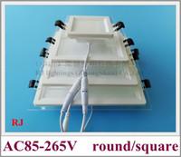 Lampe d'éclairage de panneau de plafond à LED encastré avec verre 24W / 18W / 12W / 6W SMD 5730 CE ROHS LED Down Square Lumière et Verre aluminium rond