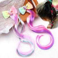 Милые детские аксессуары для волос Vintage Красочного парик плетенка Шпильки Девушка Лук Шпилька Зажим ювелирных изделия волос для партии