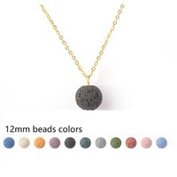 12MM Round Lava Stone Bead Necklace Aromatherapy Essential O...