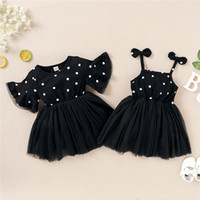 Summer Kids Girls Dress Black Polka Dots Gauze Dress Cute In...