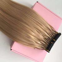 Disponible sur mesure 6D Human Hair Extensions 9A # 16 # 613 # 60 Cheveux brésiliens de Vierge Blonde 100Strands 100gram / set peuvent être coiffés avec fer