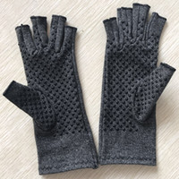 Pressure gloves with thick dots, hemp gray half finger gloves, rehabilitation training, health care