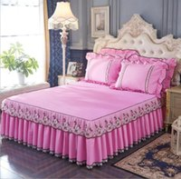 Bettrock 1/3 stücke Prinzessin Spitze BettPread-Blatt Kissenbezüge bestickter maser rosa abdeckung Hochzeit Bettwäsche Home Textil