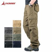 2020 Pantalon cargo Mens tactique multi-poches Salopette Homme combat coton desserrées Slacks Pantalons Armée travail Pantalon droit
