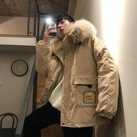 Мужские пуховики Parkas Black Beige зимняя куртка с капюшоном мужчины 2021 мода негабаритных женщин повседневные свободные пальто Parka Canada человек корейский мужской одежды