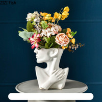 Klasik Siyah Beyaz Seramik Vazo İnsan Kafası Soyut Yarım Vücut Saksı Çiçek Düzenleme İnsan Yüz Vazo Dekorasyon Ev
