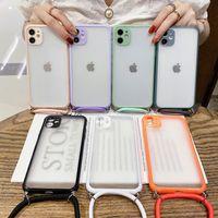 شفافة الهاتف الغطاء القضية للحصول على 11 برو ماكس X XR XS ماكس 7 8 زائد SE 2020 لون الحلوى الشريط الحبل العودة