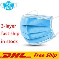 DHL شحن سريع مجاني أقنعة المتاح 3ply غير المنسوجة قناع الوجه الحماية والصحة الشخصية قناع مع أقنعة حلقة الأذن الفم الوجه الصحية