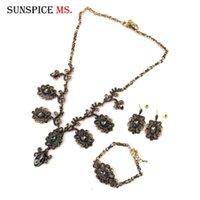 Sunspicems turco conjunto de jóias de casamento para noiva Colar de Ouro Define Cristais borlas Colar Brinco Set etíope Bijoux presente