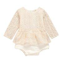 INS Infant os miúdos atam romper bebê meninas renda bordada de manga longa jumpsuits bebê meninas rendas Falbala rompers A4012