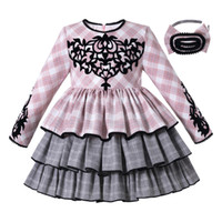 Pettigirl New Arrival Kids Clothes Girls Pink Plaid Print Cu...