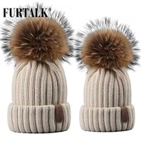 Furtalk Real Fur Hat Knitted Real Big Raccoon Pom Pom Hat Women Winter Unisex Kids Ages 4-12 Warm Chunky Thick Stretchy Knit