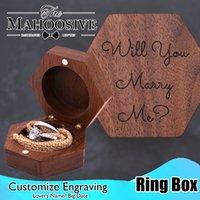 Caixa de anel de madeira luxo logotipo personalizado noz walnut jóias de casamento jóias caixa caixa de jóias