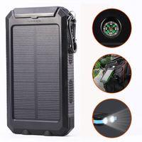 USB 20000mAh Solar Power Bank Chargeur Portable Outdoor Voyage Enternal batterie DC5V avec LED Compass