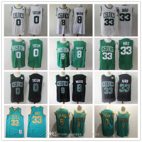 Mens BostonKelticsGerileme Jersey Larry 33 Kuş Kemba 8 Walker Jayson 0 Tatum Basketbol Şort Basketbol Forması Siyah Yeşil
