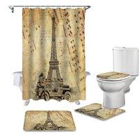 Tende da doccia Retro Paris Tower Tower Note Musical Note Tenda Set di tappeti antiscivolo Coperchio del coperchio della toilette e tappetino da bagno Set da bagno