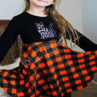 Kids Clothes Designer Halloween manga comprida Pullover Sweater Moda Plaid Skirt Outfit Outono Inverno menina camisola Vestido terno novo D81205