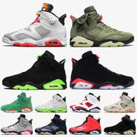 nike air jordan 6 travis scott 6 retro 6 zapatos de baloncesto de las mujeres verde eléctrico infrarrojo Negro Gris humo 2020 zapatillas de deporte formadores