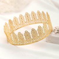 AiliBride Gold Rund Crown King Königin Hochzeit Tiara Braut Kopfschmuck Männer Partei Kristall Haarschmuck Hochzeit Haarschmuck Geschenk
