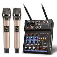 Freeshipping 4Channels Audio Mixer con Microfono UHF Sound Mixing REC Bluetooth USB Record 48V Phantom Power DJ Mixer