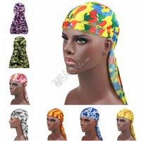 Kamuflaj İpeksi Durag Uzun Kuyruk Dorag durags Premium İpek Waver Bandana Turban Şapkalar Peruk Hip Hop Headwrap Kafa Korsan Şapkası D82409 Caps