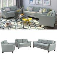 Moderna anni '20 U_STYLE Pulsante trapuntato 3 pezzi sedia del loveseat sofà regolano il trasporto US Magazzino WY000048EAA