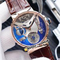 Beste New Mega Yacht 6319-305 Emaille 3D blaues Zifferblatt Automatische Tourbillon Herrenuhr Rose Gold Case Braune Lederbanduhren Hello_watch F34
